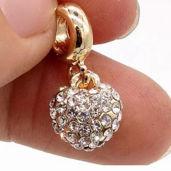 Jewelry - NEW•CZ encrusted Heart DIY charm w/18kt finish
